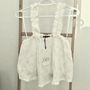 Zara White Ruched Eyelet Top